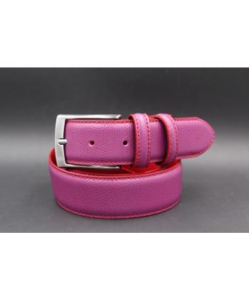 Reversible red purple leather belt - purple side