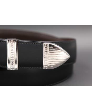 Black cowhide leather belt with engraved metal tip - tip detail