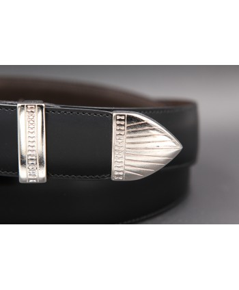 Ceinture en cuir vachette noir embout métallique gravé - détail pointe