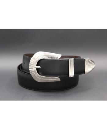 Black cowhide leather belt with engraved metal tip
