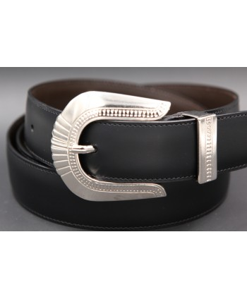 Black cowhide leather belt with engraved metal tip - buckle detail