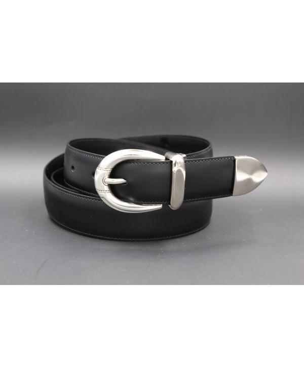 Black or brown cowhide leather belt with smooth metal tip