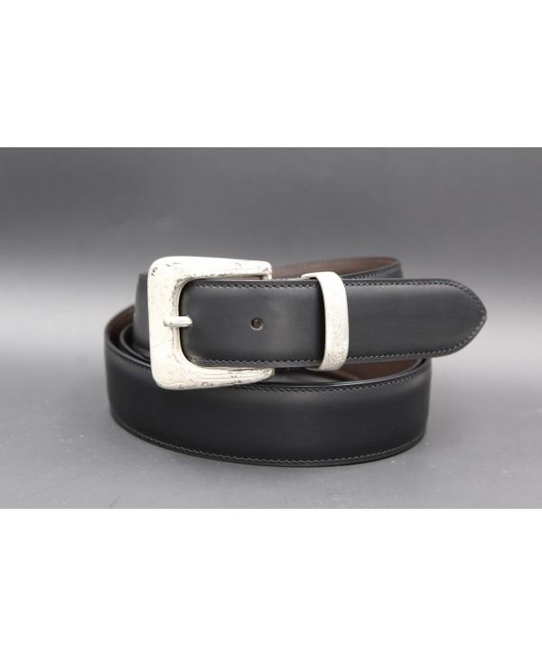 Black cowhide leather belt