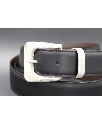 Black cowhide leather belt - buckle detail