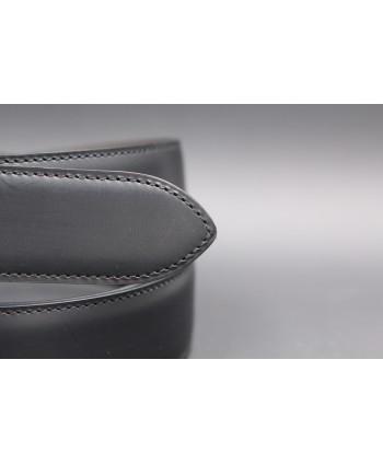 Black cowhide leather belt - detail
