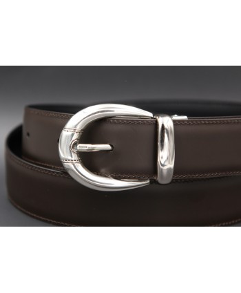 Black or brown cowhide leather belt with smooth metal tip - buckle detail - in brown leather