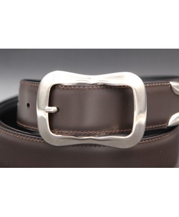Brown leather belt with toe cap - detail