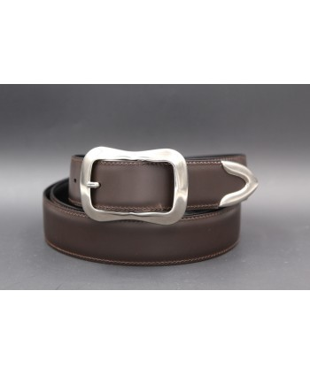 Brown leather belt with toe cap