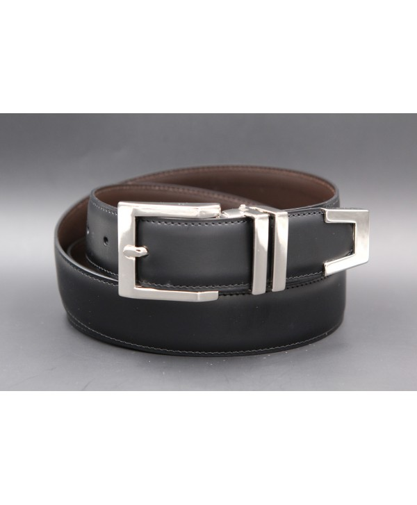 Black leather belt with square tip