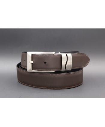 Reversible leather belt - brown side