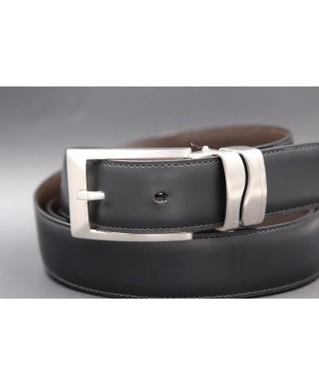 Reversible leather belt - black side - detail