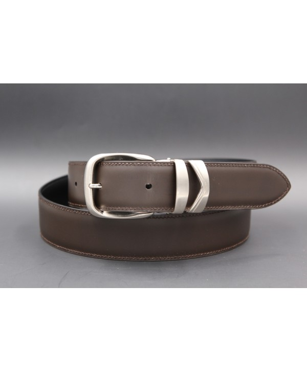1681758d804 PIRAMIDE - Ceinturon cuir camel boucle ovale metal argenté et strass