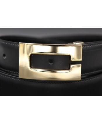 Ceinture réversible en cuir noir et marron boitier C doré - côté noir - détail