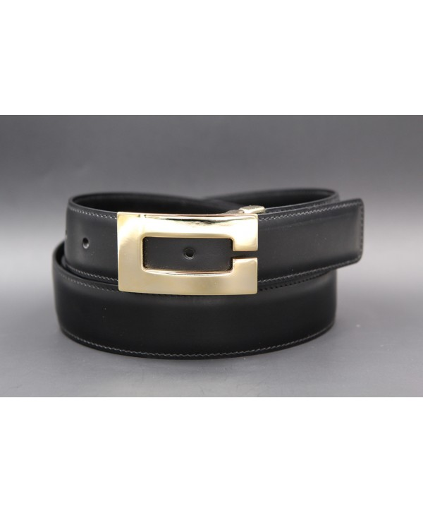 Reversible belt in black and brown leather, gold case C - black side