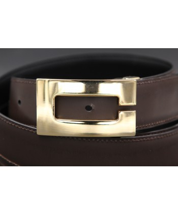 Reversible belt in black and brown leather, gold case C - brown side - detail