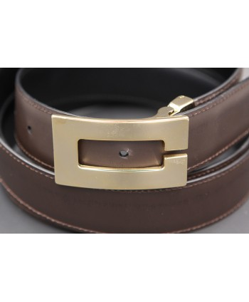 Reversible belt in black and brown leather, gold case C - brown side