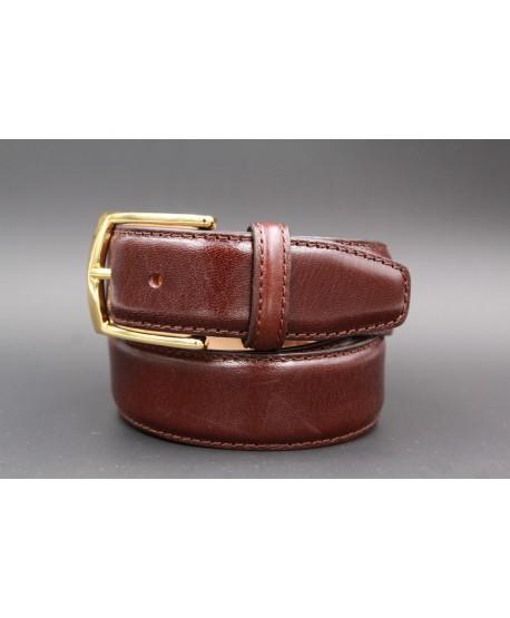 Dark brown smooth leather belt big size - golden buckle