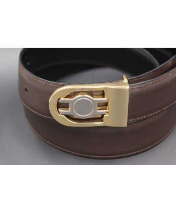 Reversible belt in black and brown leather, gold and nickel case - brown side - detail