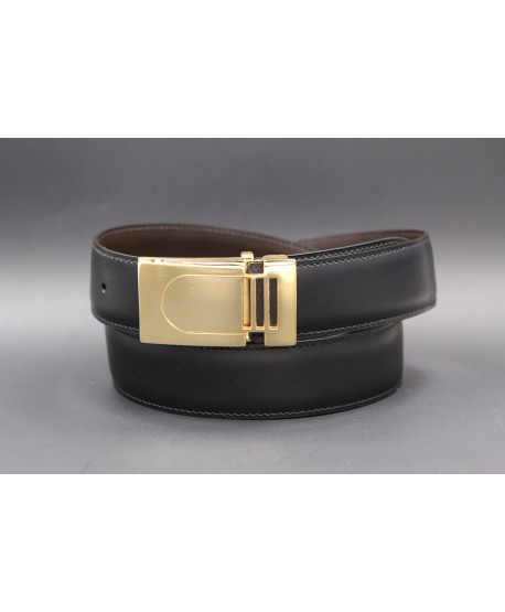 Reversible belt in black and brown leather with golden case - black side
