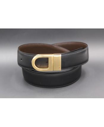 Ceinture réversible en cuir noir et marron boitier doré