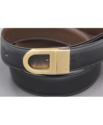 Reversible belt in black and brown leather with golden case - detail