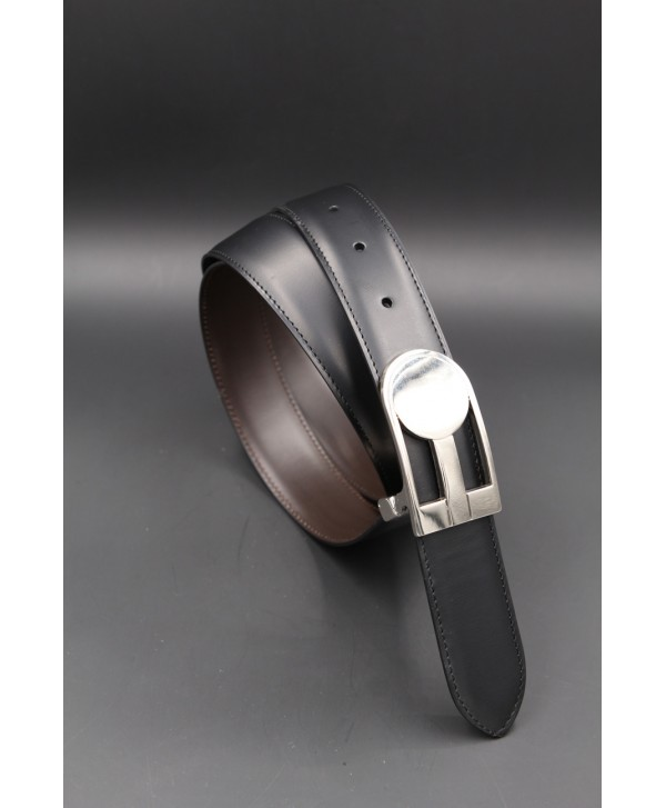 Reversible black brown leather belt, nickel case - black side