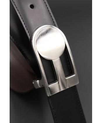 Reversible black brown leather belt, nickel case - black side - case detail