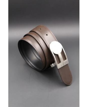 Reversible black brown leather belt, nickel case - brown side