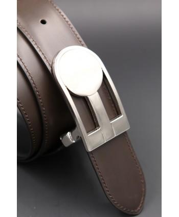 Reversible black brown leather belt, nickel case - brown side - case detail