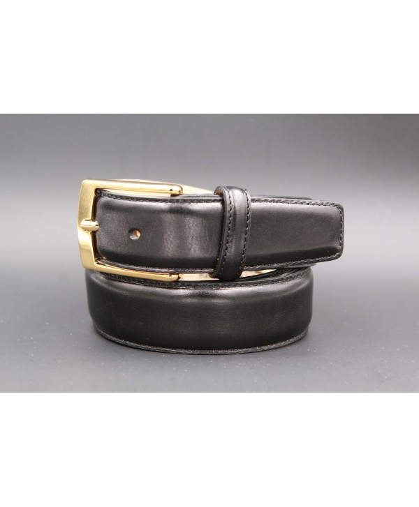 Black smooth leather belt big size - golden buckle