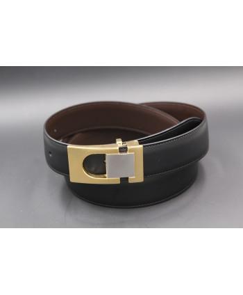 Ceinture réversible en cuir noir et marron boitier doré et nickel - côté noir
