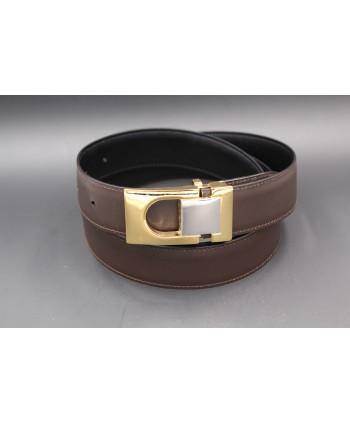 Ceinture réversible en cuir noir et marron boitier doré et nickel - côté marron