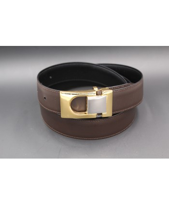 Reversible belt in black and brown leather, gold and nickel case - brown side