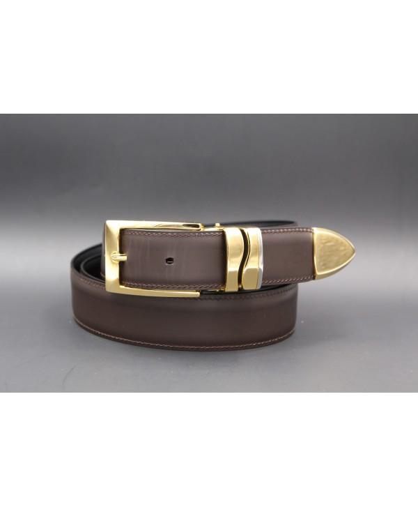 Brown leather belt width 30mm