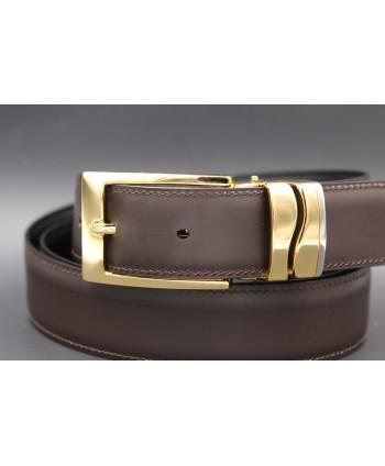 Brown leather belt width 30mm - buckle detail