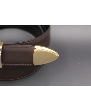 Brown leather belt width 30mm - detail