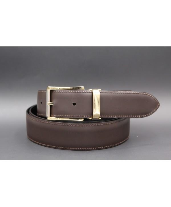 Brown cowhide leather belt