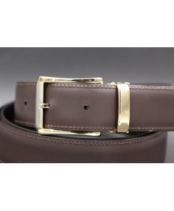 Brown cowhide leather belt - detail
