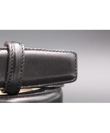 Ceinture cuir noir lisse grande taille - détail