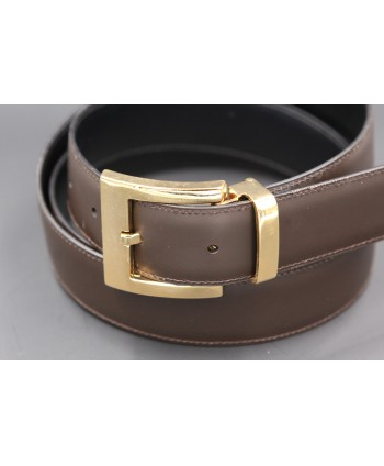 Reversible leather belt - brown side - detail
