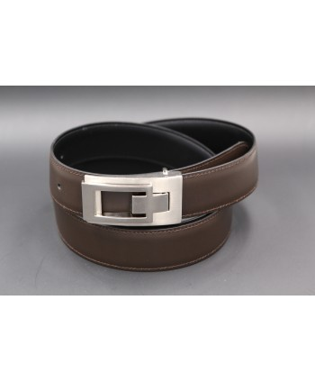 Reversible belt in black and brown leather, nickel case - brown side