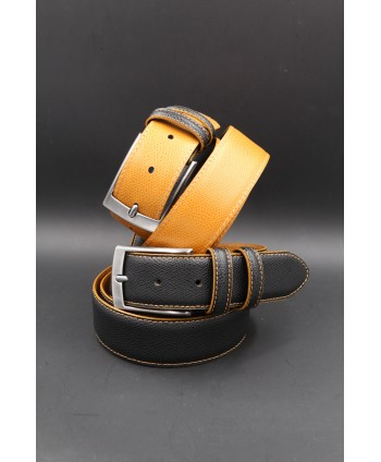 Black gold reversible split leather belt