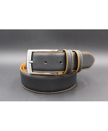 Black gold reversible split leather belt - black side