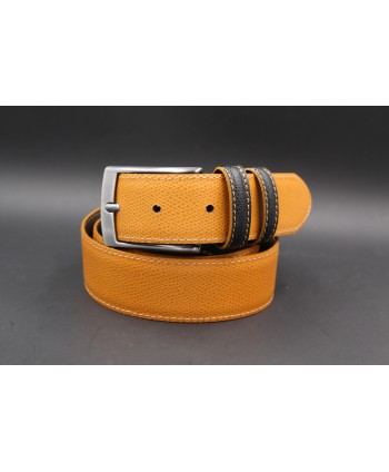 Black gold reversible split leather belt - gold side