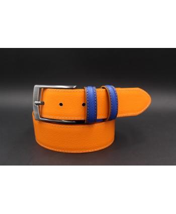 Ceinture croute de cuir réversible bleu orange - côté orange