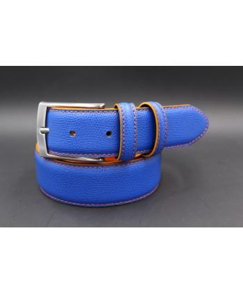 Ceinture croute de cuir réversible bleu orange - côté bleu