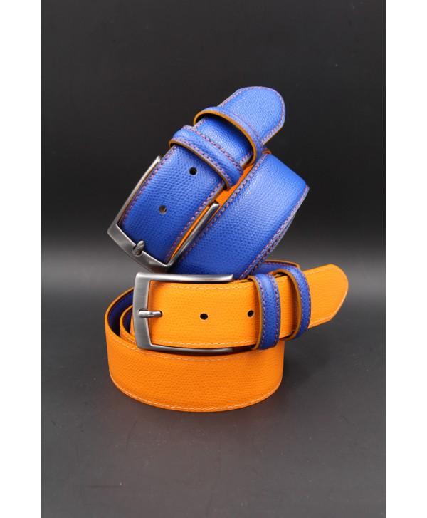 Ceinture croute de cuir réversible bleu orange