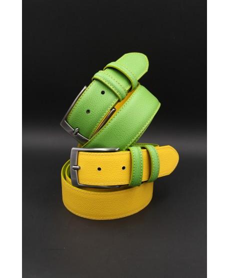 Green yellow reversible split leather belt