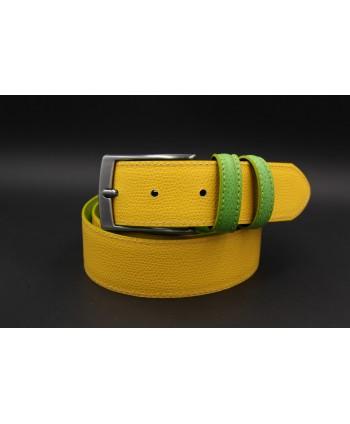 Green yellow reversible split leather belt - yellow side