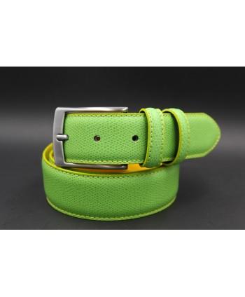 Green yellow reversible split leather belt - green side